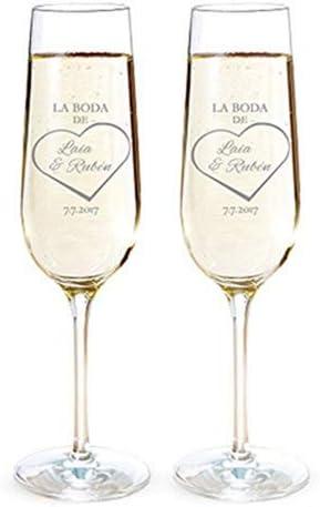 Digisellos 2 Copas de Champagne Personalizadas grabadas con Láser: Amazon.es: Hogar