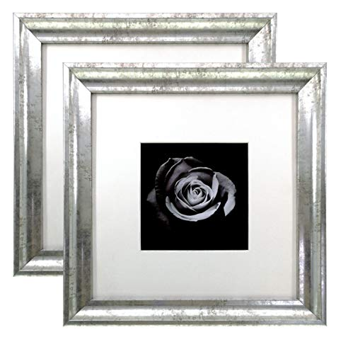 Onuri Inc - Distressed Silver 8x8 Picture Frame (2-Pack) - Square Frame Matted to 4x4 - Instagram Picture Frame (Silver Corner Frame)