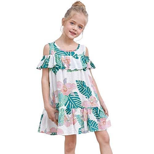 MHJY Girls Dress Floral Print Sundress Cold Shoulder Ruffled Short Sleeve Dress A-Line Summer Casual Party Dress