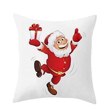Nigel156 Funda de almohada de lino y algodón, diseño de Papá Noel con motivos navideños, 40 x 40 cm, 26x26: Amazon.es: Hogar