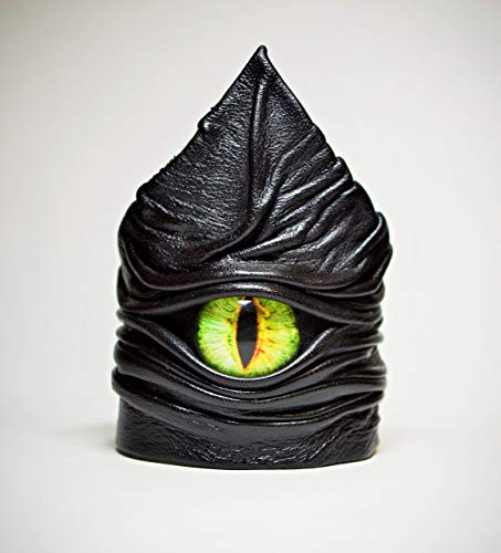 Adjustable black leather bracelet cuff, wristband, armor bracer for men women. Leather cuff dragon eye Costume cosplay fantasy festival LARP