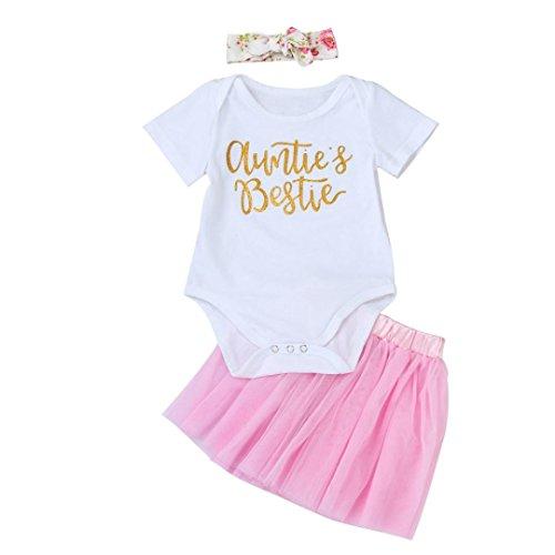 Lanhui Sunny Baby Girls Letter Romper Jumpsuit Skirt 3Pcs Set Suit Outfits Clothes (24Months, - Zipper Von Sunnies