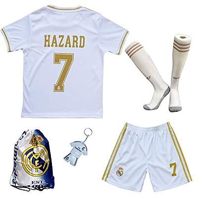 GamesDur 2019/2020 Real Madrid Hazard #7 Home White Soccer Kids Jersey & Short & Sock & Soccer Bag Youth Sizes