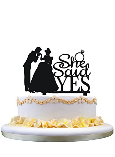 Wedding Cake Topper Wedding Decor She Said Yes Engagement Cake Topper by zhongfei