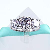 Three Stone 4Carat White Moissanite Diamond Engagement Ring, 925 Sterling Silver, 2Carat Main Stone