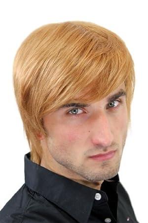 Perruque pour homme, mi-long, blond/blond