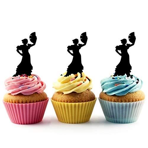 TA0841 Flamenco Dancing Woman Silhouette Party Wedding Birthday Acrylic Cupcake Toppers Decor 10 pcs