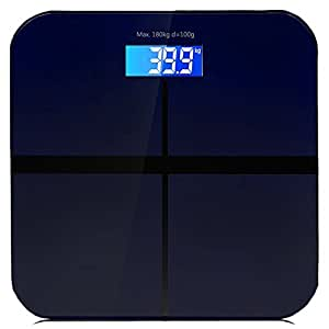 TopYart High Precision Digital Bathroom Weight Scale with Round Edge Tempered Glass Platform and Large Backlit LCD, Measures Room Temperature, 400lb/180kg (Navy blue)