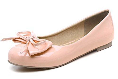 Aisun Femmes Mignon Bowknot Coupe Basse Bout Rond Porter Au Travail Glisser Sur Les Appartements Conduite Chaussures Rose