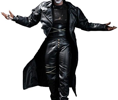 The Crow Eric Draven Costume Gift Ideas Black Leather Long Coat Jacket For Him XL