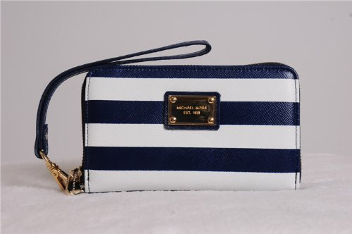 a79cdd778cca Image Unavailable. Image not available for. Colour  Michael Kors Essential  Zip Wallet for Iphone 5 4 4s Blue White Navy Stripe