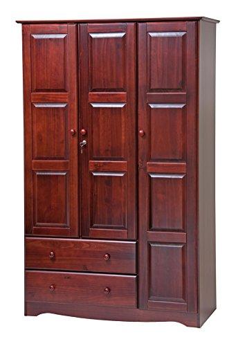 100% Solid Wood Grand Wardrobe/Armoire/Closet by Palace Imports, Mahogany, 46
