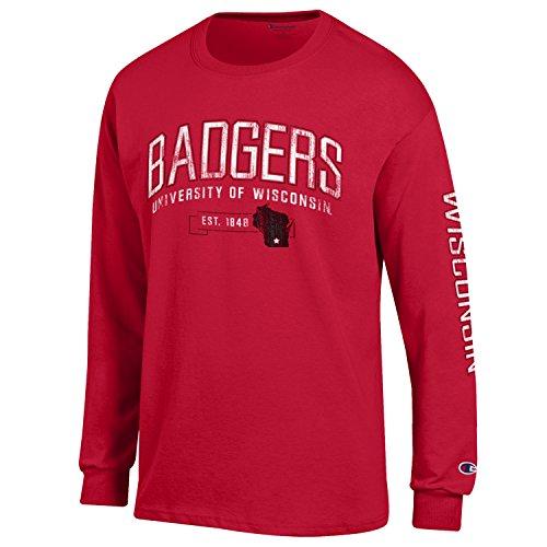 Champion NCAA Wisconsin Badgers Men's Men's Fair Catch Long Sleeve T-Shirt, Medium, - Cotton Badger Shorts