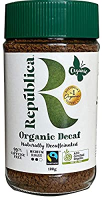 Repubilca Organic Decaffeinated Arabica Instant Coffee | Certified Organic | Fair Trade | 100g/3.53oz jar from Republica
