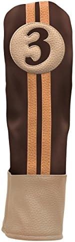 Sahara Retro Headcover for #3 Fairway Wood, Brown/Beige