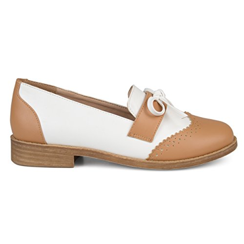 - Brinley Co. Womens Faux Leather Bow Accent Wingtip Loafers Tan, 10 Regular US