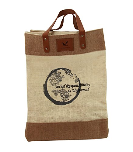 Grocery Bag Multi-purpose Shop Carry Heavy Duty Jute Market Tote Grocery Bag with Leather Handle