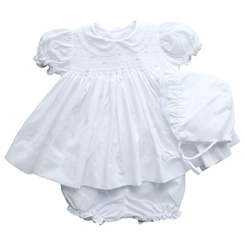 (Petit Ami Baby Girls' Fully Smocked Dress with Lace Trim, Newborn, White)