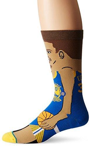 Stance Men's S. Curry Crew Sock, Blue, L