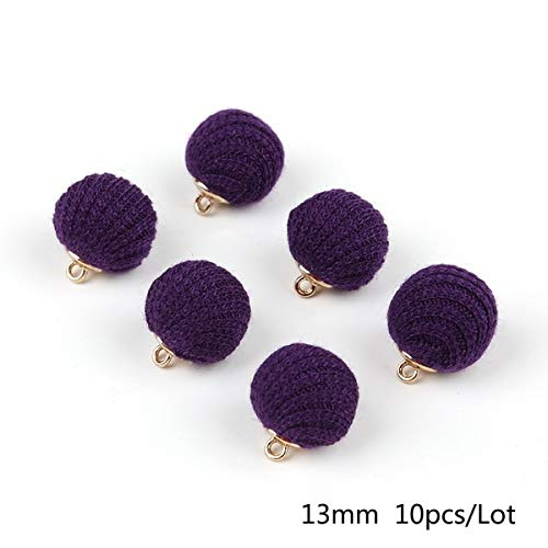 Ochoos Fashion 13mm Fabric Covered Beads Charms Pendant Beads for Earring Necklace Bracelet Making DIY Jewelry Findings - (Color: Purple) (Fabric Necklace Jasper)