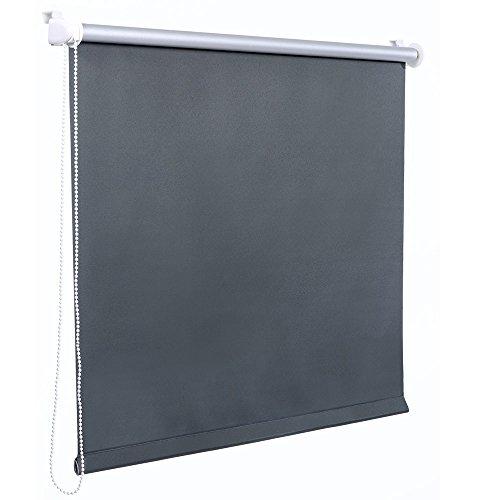 [neu.holz] Klemmfix Seitenzugrollo (70x175 cm) (grau) - Sonnen- und Lichtschutz - blickdicht - ohne Bohren