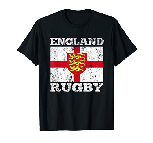 England Rugby T Shirt Vintage English Flag Rugby Gift Tee