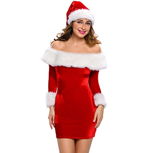 Eternatastic Women's Mrs Santa Christmas Costumes Dress Long Sleeves Bodysuit M (Plus Size Sexy Santa Christmas Costume)