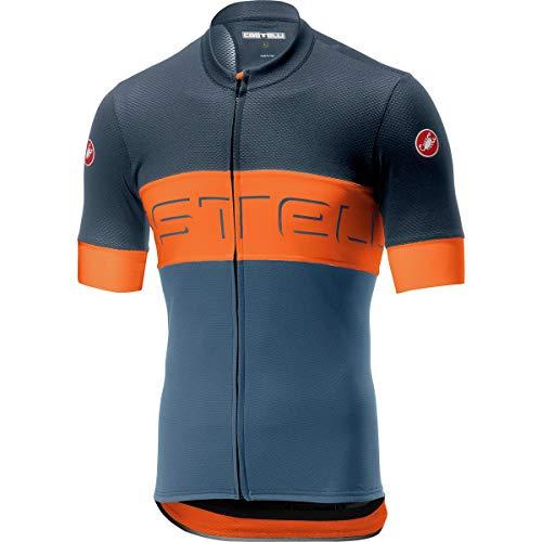 Castelli Prologo VI Jersey - Men's Dark Steel Blue/Orange/Light Steel Blue, L from Castelli
