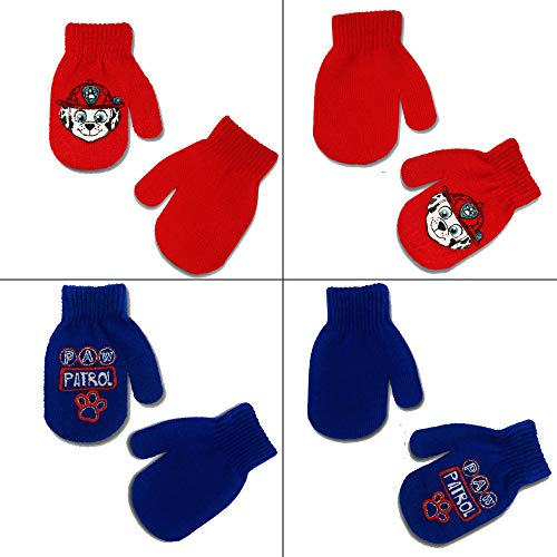 Nickelodeon Paw Patrol 4 Pair Acrylic Mittens Cold Weather Set, Toddler Boys, Age 2-4