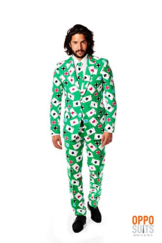 OppoSuits Men's Poker Face Party Costume Suit, Mixed, 48