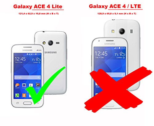 Cadorabo - Funda Samsung Galaxy ACE 4 LITE (G313H) Book Style de Cuero Sintético en Diseño Libro - Etui Case Cover Carcasa Caja Protección (con función de suporte y tarjetero) en NEGRO-FANTASMA VERDE-DE-MENTA