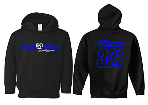 JUST RIDE Moto Baby Toddler Youth Hoodie Sweat Shirt Motocross Number Plate Custom Personalized (3T, NEON Blue)