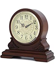 Mantel Clock, Silent Decorative Wood Table Clock, Battery Operated Digital Clock, Wooden Design Decorative Desk Clock for Living Room, Fireplace, Office, Kitchen