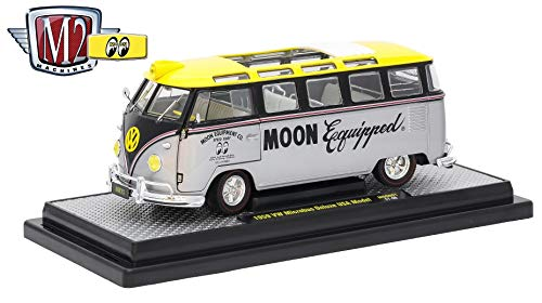 - M2 Machines 1959 VW Microbus Deluxe U.S. (Silver Metallic Bottom, Gloss Black Middle & Bright Yellow Top) 1:24 Scale MOONEYES 2017 Castline Die-Cast Vehicle & Display Base (1 of only 3,000 Pieces)