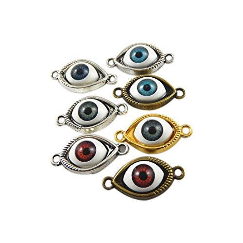 JulieWang 24pcs Mixed Antiqued Bronze Silver Evil Eye Demon Charms Pendants for Jewelry Making