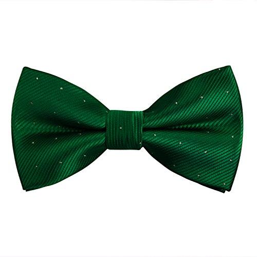 Adjustable Neck Men's Pre-Tied Bow Ties with Silver Dots-Dark Green]()