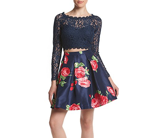 Sequin Hearts by My Michelle Women's Two Piece Short Prom Dress with Long Sleeve Lace Top, Navy/Fuchsia, 9