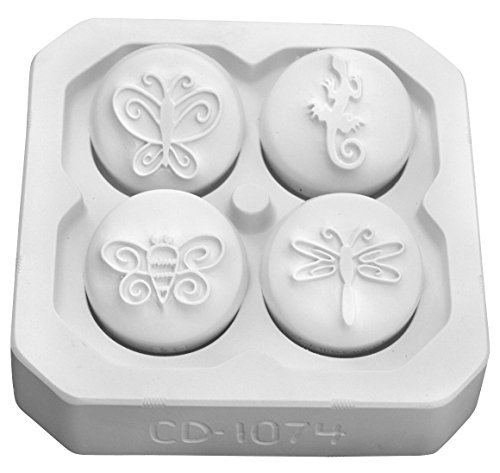 Mayco Insect and Lizard Design Press Tool Set, 1-3/4 in, White, Set of 4