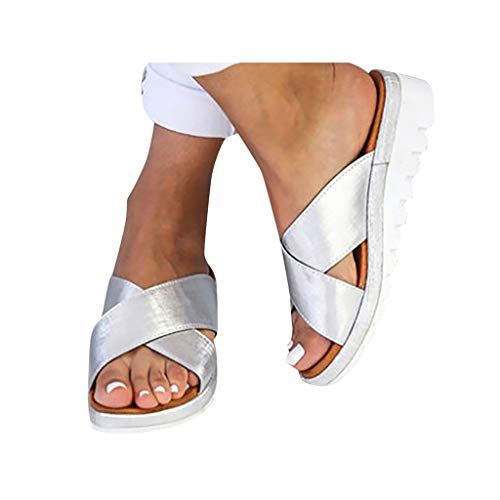 Dressin Women's Sandals 2019 New Women Comfy Platform Sandal Shoes Summer Beach Travel Shoes Fashion Sandal Ladies Shoes (Cowhide Platform)