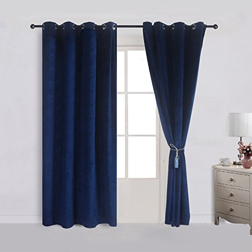 Cherry Home Super Soft Velvet Curtain Drape Panel Blackout Super Soft Nickle Grommet 52Wx63L Inch Navy Royal Blue (1 Panel) for Theater| Bedroom| Living Room| Hotel
