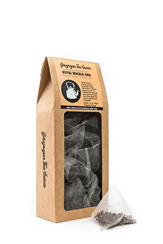 Indian Chai Tea Bags - TeaBlyss 16 Biodegradable Pyramid Chai Tea Bags - Made with Assam Tea Leaves and Organic Cinnamon, Cardamom, Ginger and Cloves - Farm2Cup Direct From Source in India