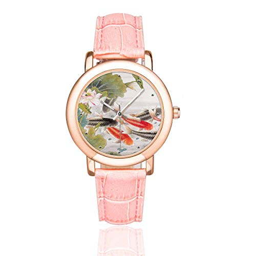InterestPrint Women's Rose Golden Watches Koi Goldfish Pink Leather Band Waterproof Wrist Watch