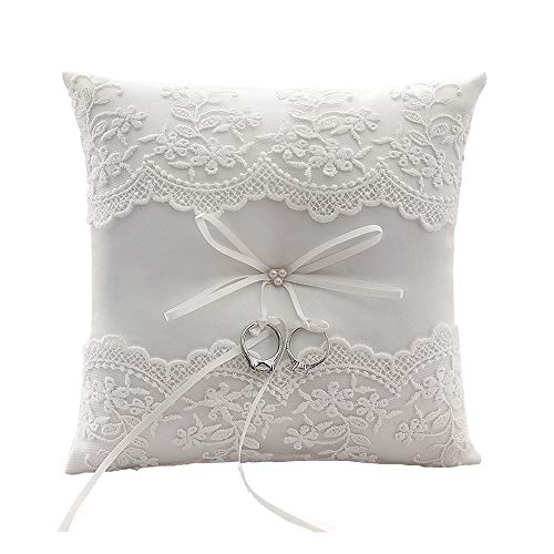 Tangser Ring Bearer Pillow Ivory, Wedding Ring Pillows, Personalize Wedding Rings Holders with Beautiful lace & Flower 7.9