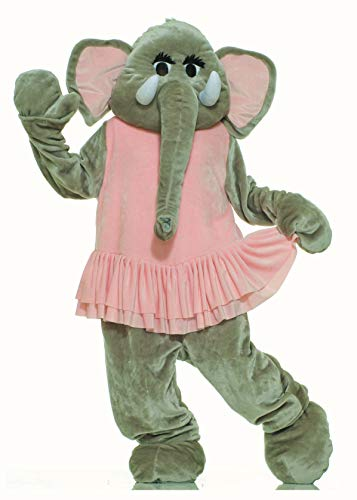 Forum Deluxe Plush Elephant Mascot Tutu, Pink/Gray, One Size Costume