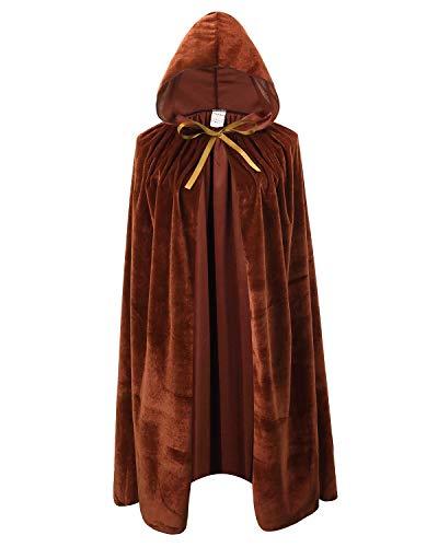 Kids Velvet Cape Cloak with Hood Unisex-Child Cosplay Halloween Christmas Costume (100cm/39.4inch, Brown)