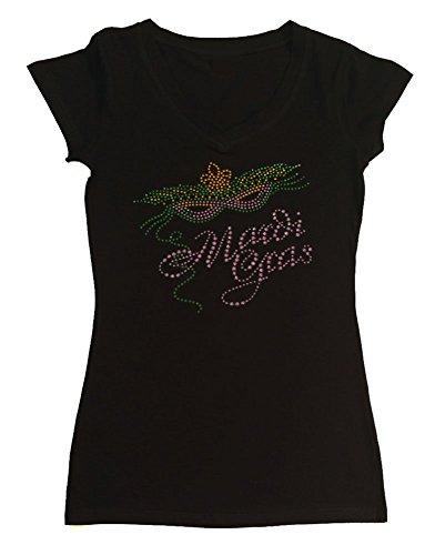 Womens Fashion T-shirt with Mardi Gras Mask in Rhinestuds (1X, Black Cap Sleeve) (Mardi Gras Fashion)