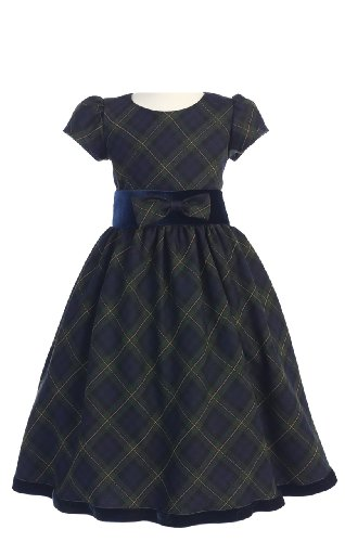 Special Occasion Holiday Christmas New Year Green Plaid Dres