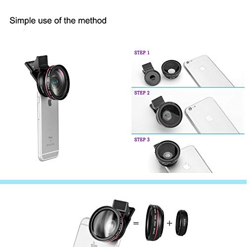 Mactrem 2 in 1 Universal HD Camera for mobile Cell Phone Lens Kit for iPhone 6s 6 Plus 5s 5, Samsung S6 S5 Smartphones (0.45x Super Wide Angle Lens, 12.5x Super Macro Lens)