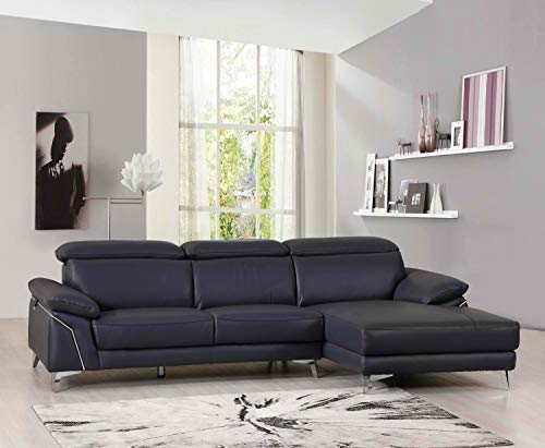 - Blackjack Furniture 727-BLUE-SECT Brooklyn Italian Leather Living Room Sectional, Right Facing, 114