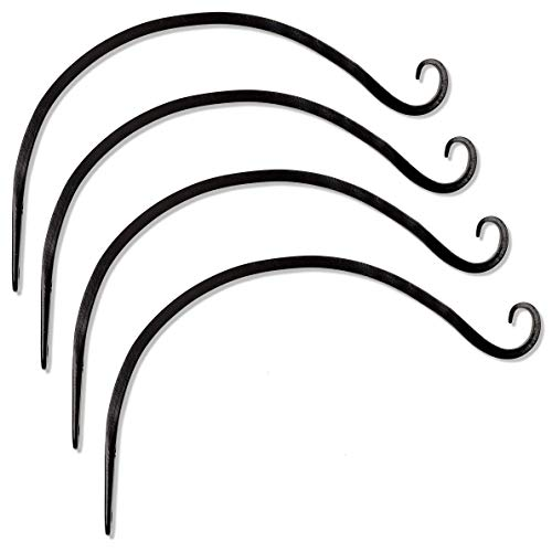 Gray Bunny GB-6820D Hand Forged Curved Hook, 14 Inch, Set of 4, Black, Beautiful Outdoor Mounted Upturned Hook for Bird Feeders, Plants, Lanterns, Wind Chimes, As Wall Brackets and More! ()